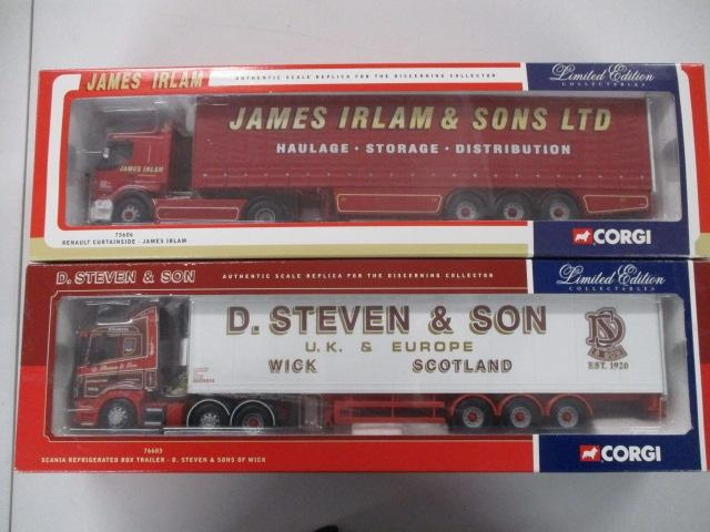 A pair of 1/50 scale  Corgi Toys Limited Edition trucks / lorrys to include : 75606 James Irlam and 76603 D Steven & Son of Wick.  image