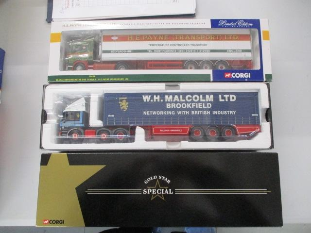 A pair of 1/50 scale  Corgi Toys Limited Edition trucks / lorrys to include : CC12704 WH Malcolm Ltd and 76601 H.E Payne.  image