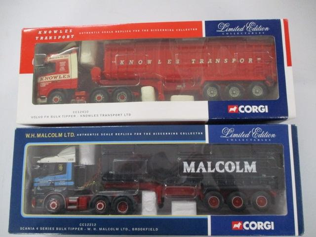 A pair of 1/50 scale  Corgi Toys Limited Edition trucks / lorrys to include : CC12410 Knowles transport and CC12212 WH Malcolm.  image