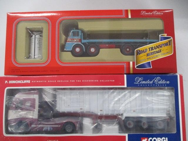 A pair of 1/50 scale  Corgi Toys Limited Edition trucks / lorrys to include : CC10503 Pollock and CC12415 P. Hinchcliffe haulage Ltd.  image
