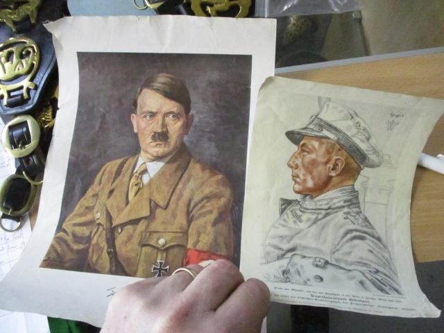 2 x vintage German Prints one featuring Adolf Hitler  image