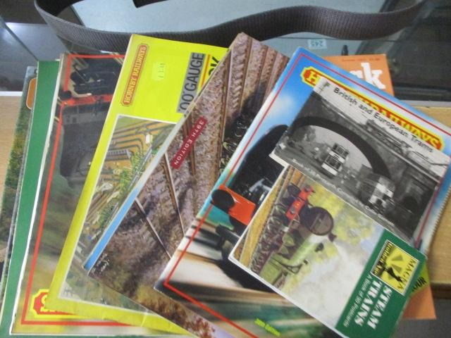 Quantity of railway related magazines to include postcards and Hornby catalogues  image