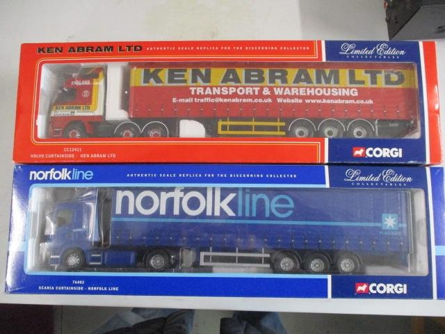 A pair of 1/50 scale  Corgi Toys Limited Edition trucks / lorrys to include : 76402 Norfolk Line and CC12411 Ken Abram LTD  image