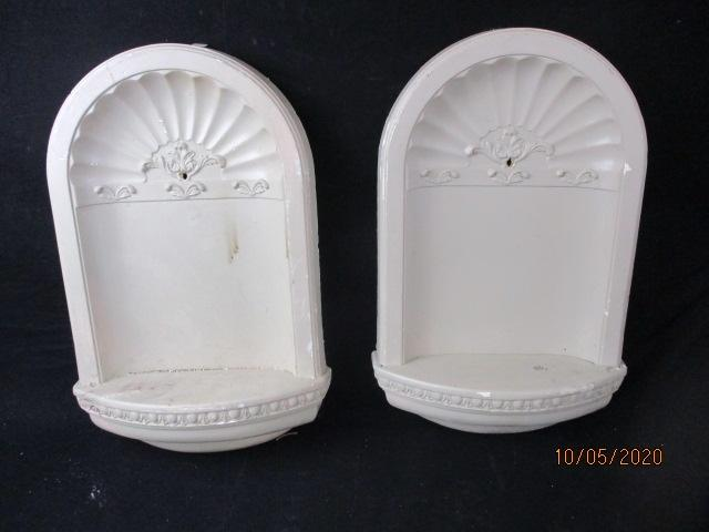 Pair of vintage decorative wall niches, display shelves. 58cms x 38cms  image