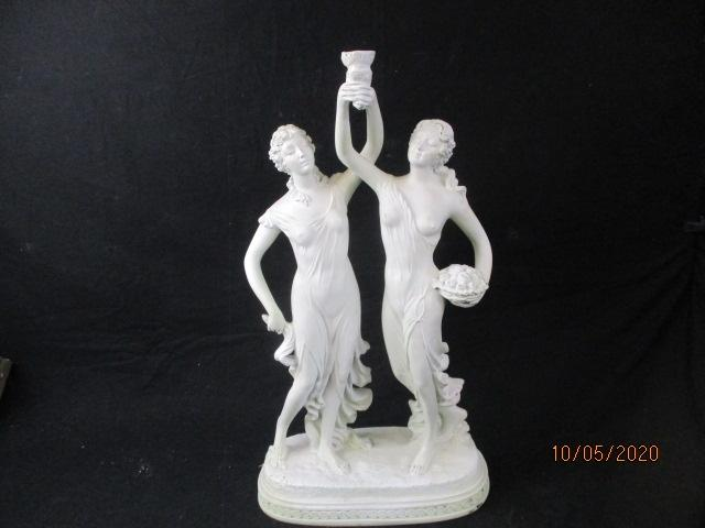 Large 50cm statue depicting two semi naked ladies.  image