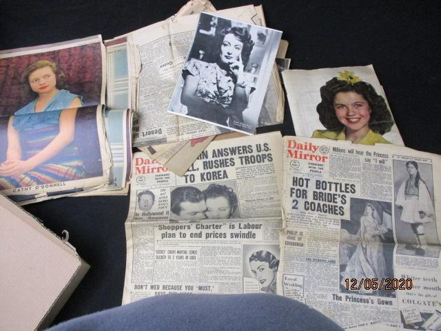 Selection of vintage 40's/50's newspapers and clippings, to include scrap book, Daily mirror, Daily Herald etc.  image