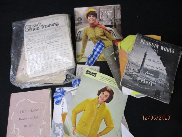 Selection of vintage 60's knitting patterns,Pitman's office training 1960's editions etc.  image