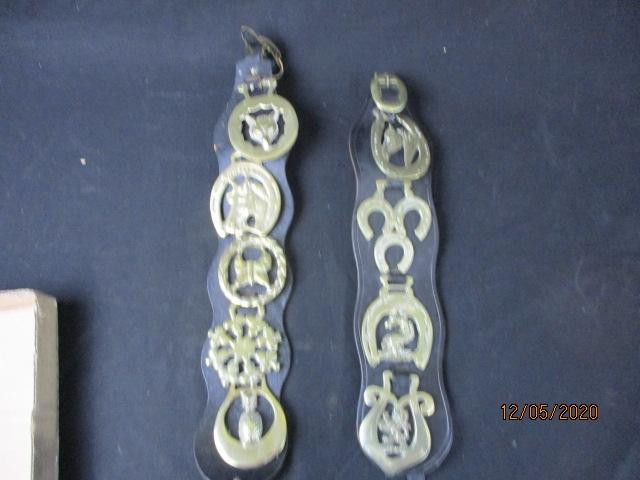 Pair of mounted horse brasses.  image