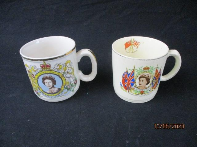 Pair of Royal commemorative cups, Silver jubilee & Alfred Meakin Queen Elizabeth coronation.  image