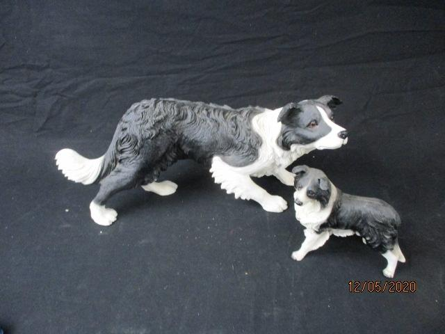 Pair of border collies to include a larger Leonardo collection and smaller figure.  image