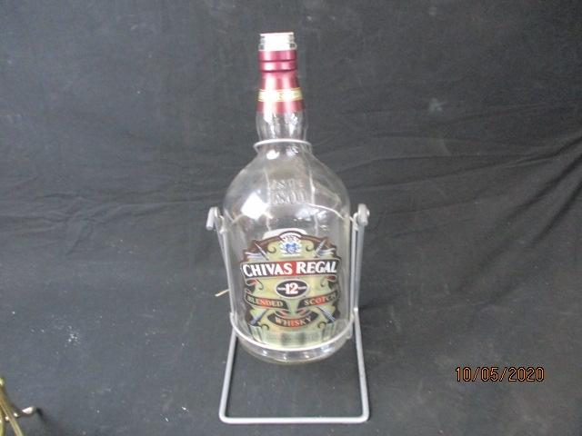 Very large Chivas regal scotch whiskey bottle and stand, 4 1/2 litre bottle.  image