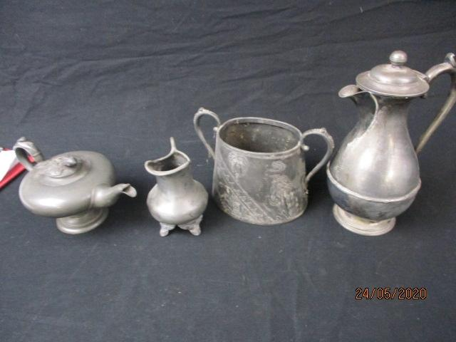 Pewter coffee pot, sugar bowl and milk jug.  image