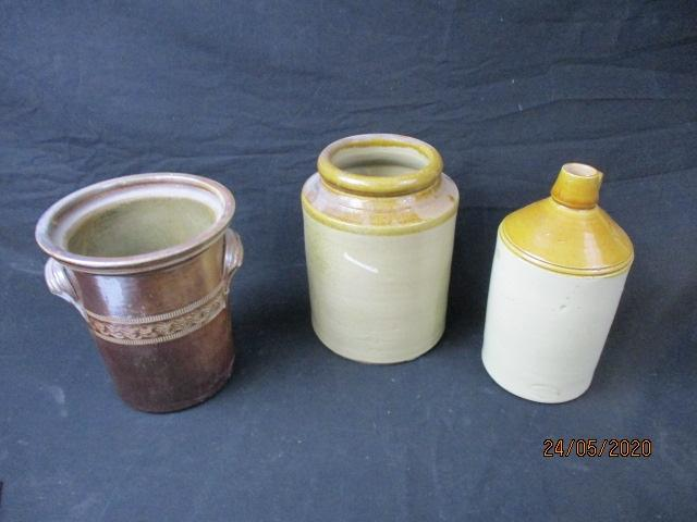 Trio of stoneware and salt glazed containers.  image