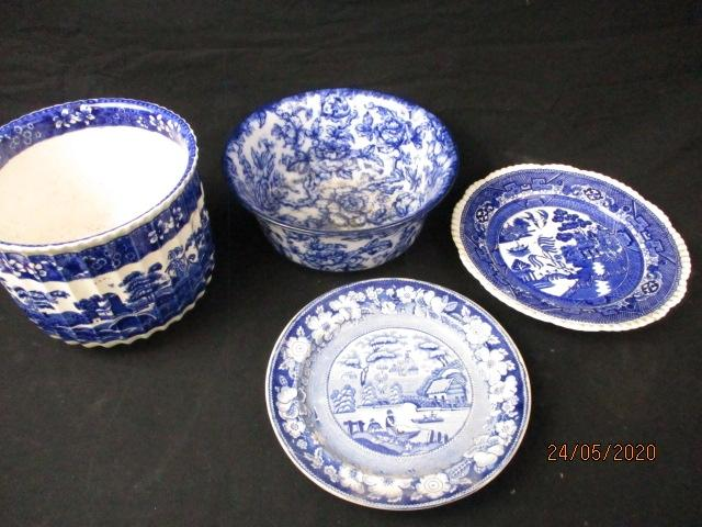 Copeland spode tower Losol etc, flow blue & blue and white pottery.  image