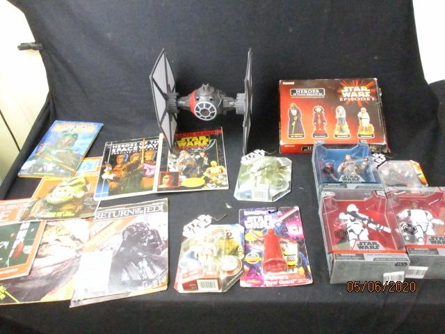 Large Collection of vintage and modern Star Wars items to include Books, magazines, action figure toys etc  image