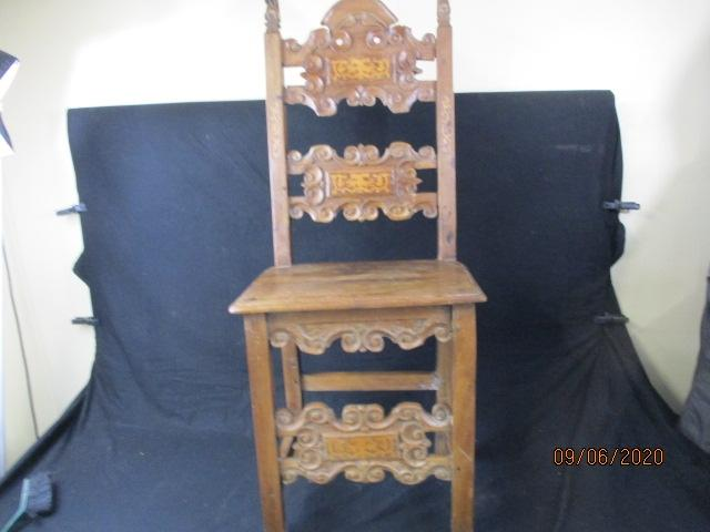 Beautiful carved detail, antique french inlaid chair.  image