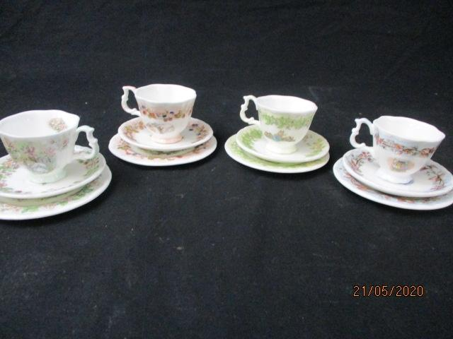 1983 Royal Doulton Brambly hedge four season's miniatures plates, cup & saucer set.  image