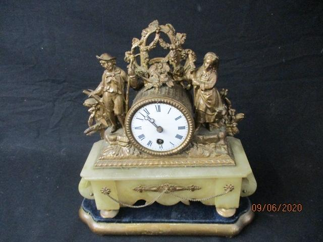 Antique Onyx and gilt metal  mantle clock.  Time piece.  image