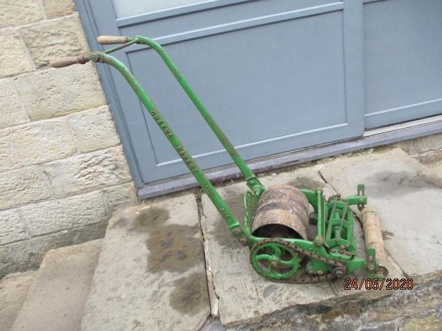 Vintage greens 10th trade mark Silens Messor roller and lawn mower.  image