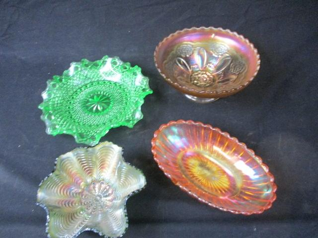 Collection of vintage Carnival glass bowls ect various colours  image