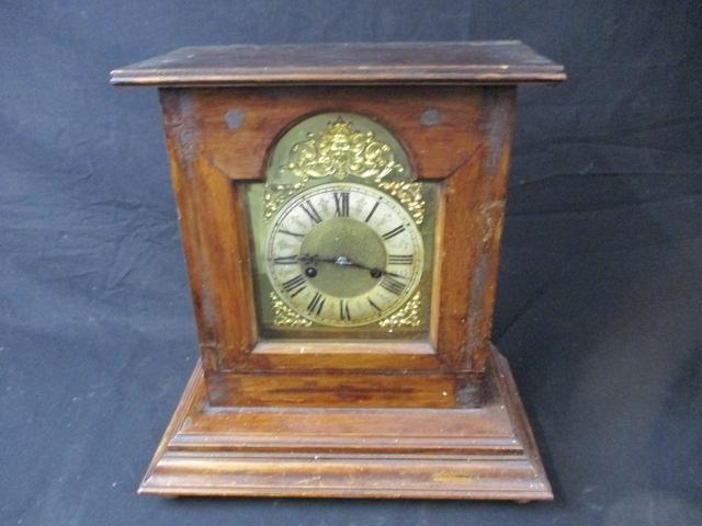 German H.A.C Brass mantle clock with 14 day movement complete with pendulum and key . 1930s  image