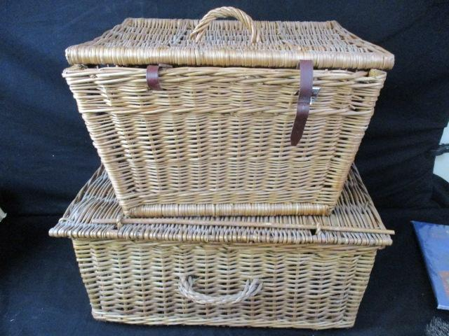 A pair of Vintage Wicker Fishing Creels  image