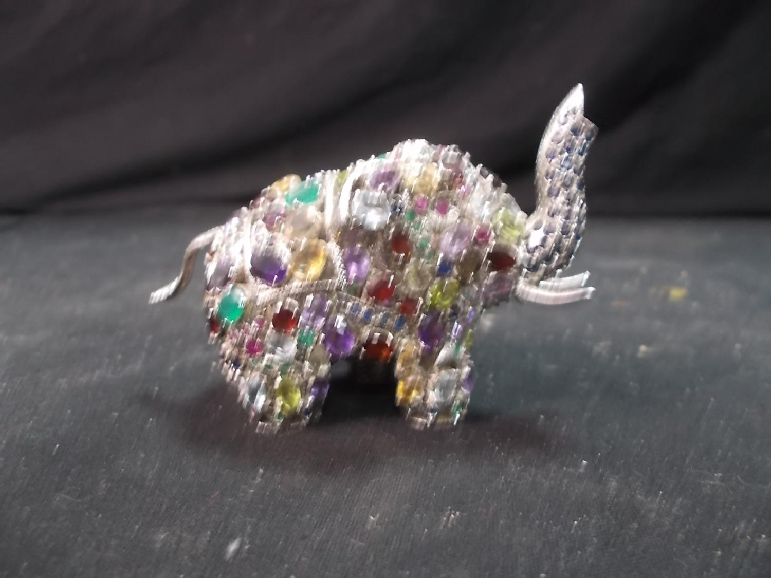 Metal Elephant marked 925 with various semi precious stones (103g)  image