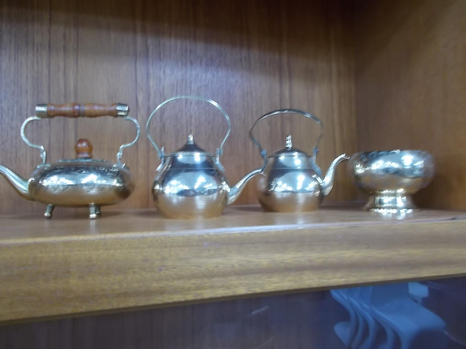 Collection of brass to include Coffee pots & bowl.  image