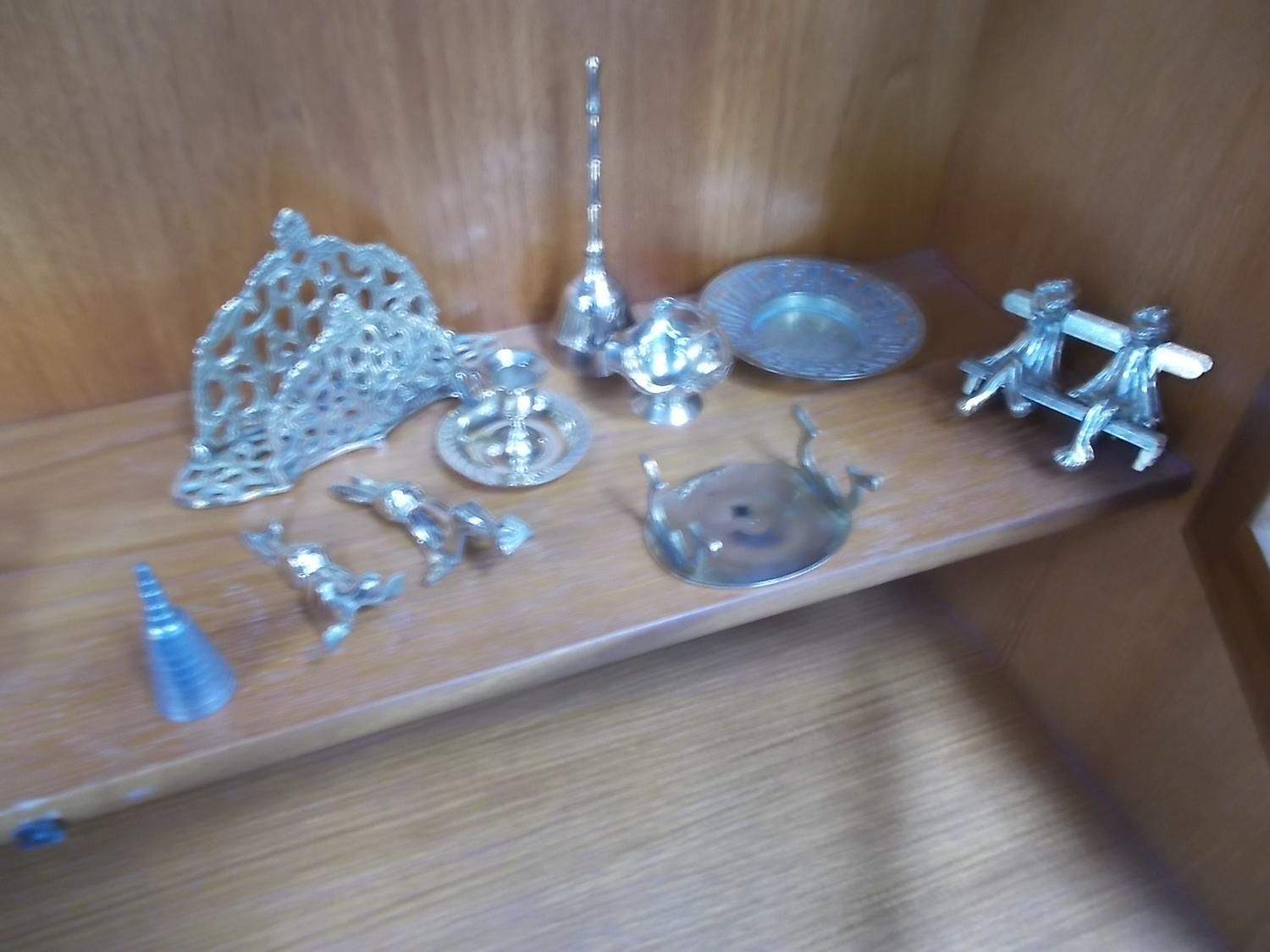 Selection of brass to include letter rack, frogs, rabbits, candle holder etc.  image