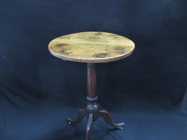 18th Century English oak (medium colour) wine table. Turned pedestal with tilt . circa 1770 to 1780  image