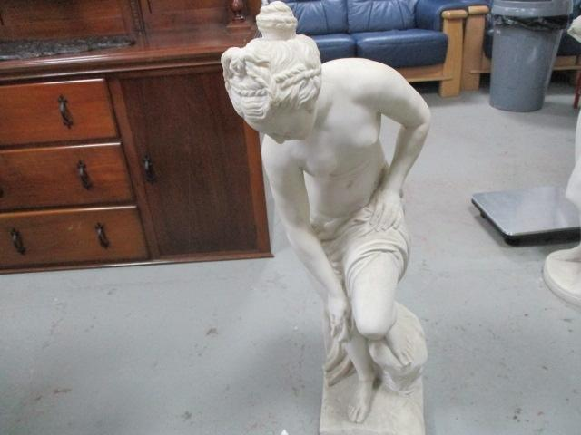 Classical style beautiful detailed semi naked lady holding covering cloth, reconstituted stone.  image