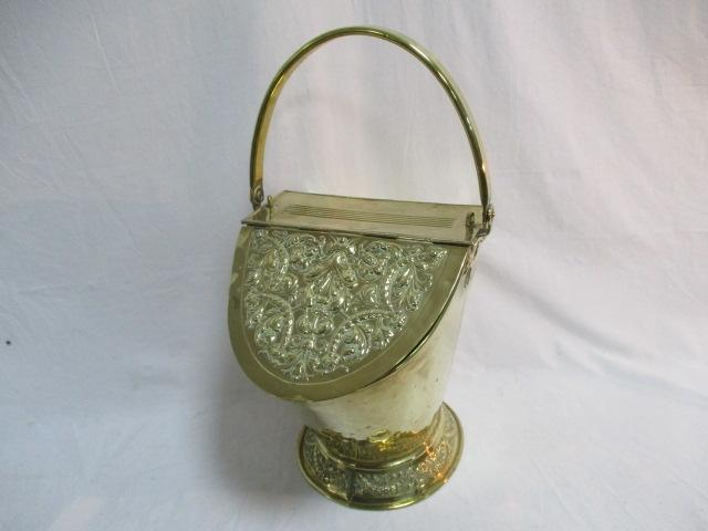Antique Regency brass coal scuttle  image
