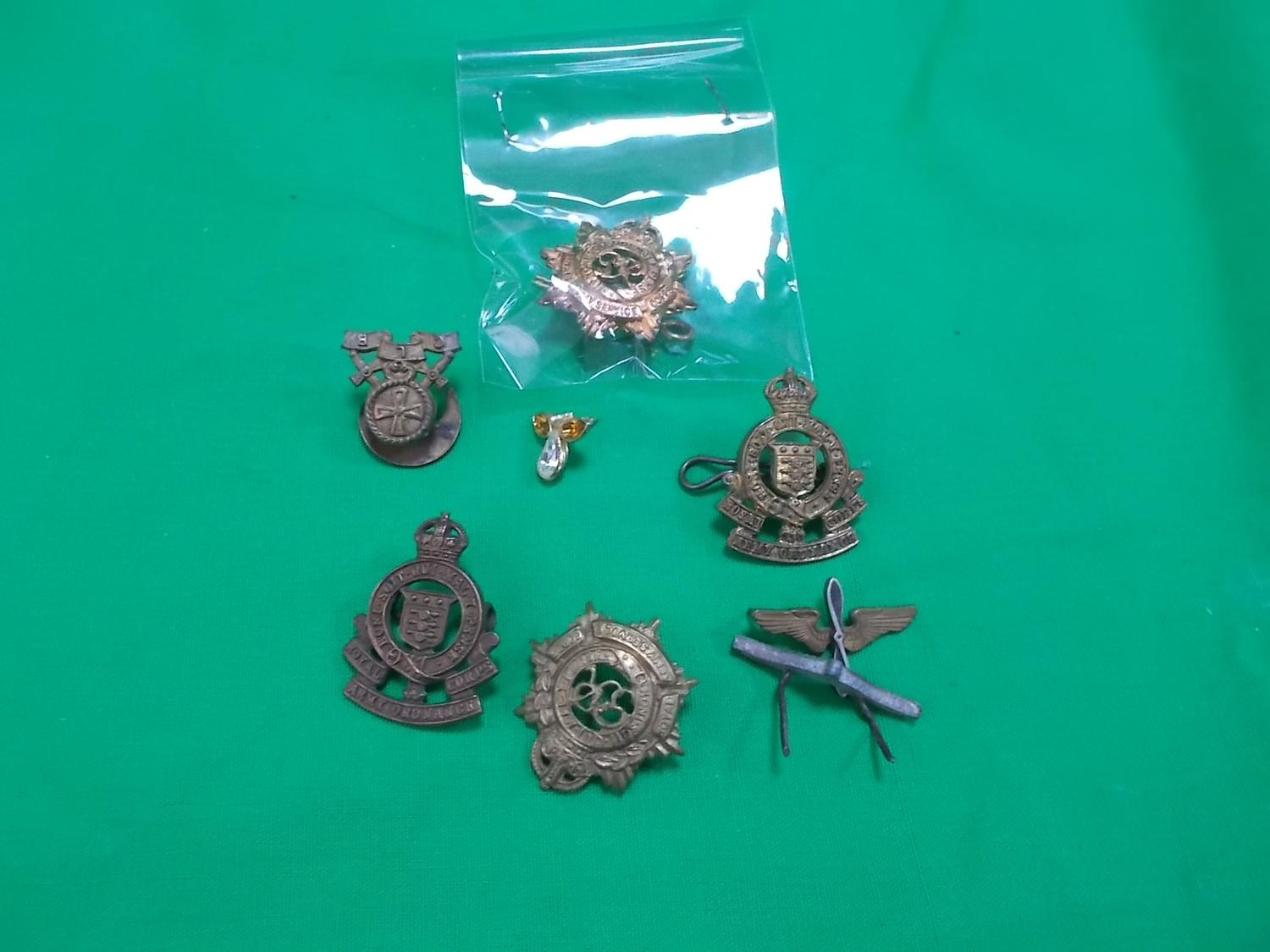 Selection of military lapel badges to include royal army service corps, ordnance corp etc.  image