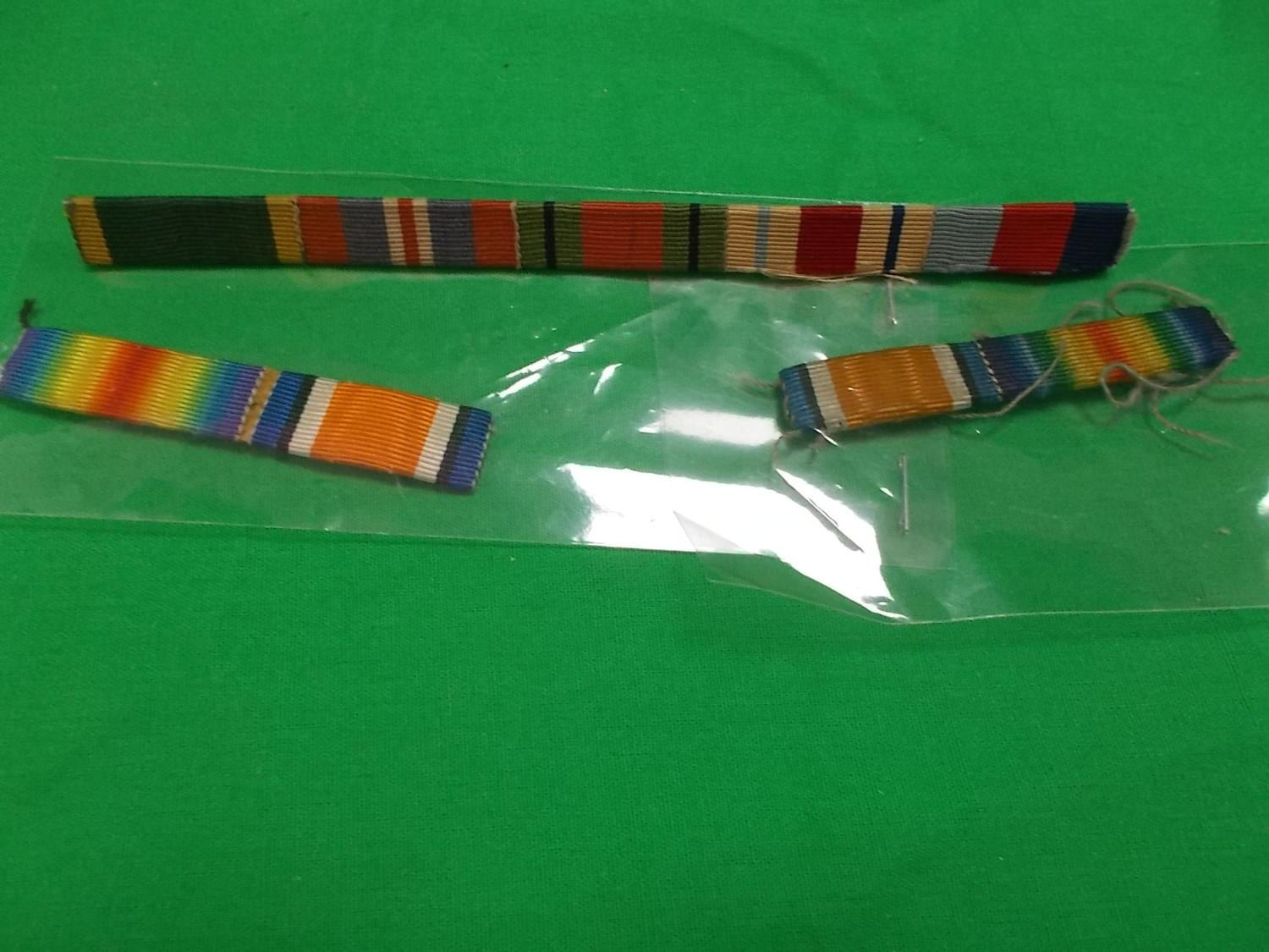 Trio of military ribbon bars to include WWi & WW2.  image