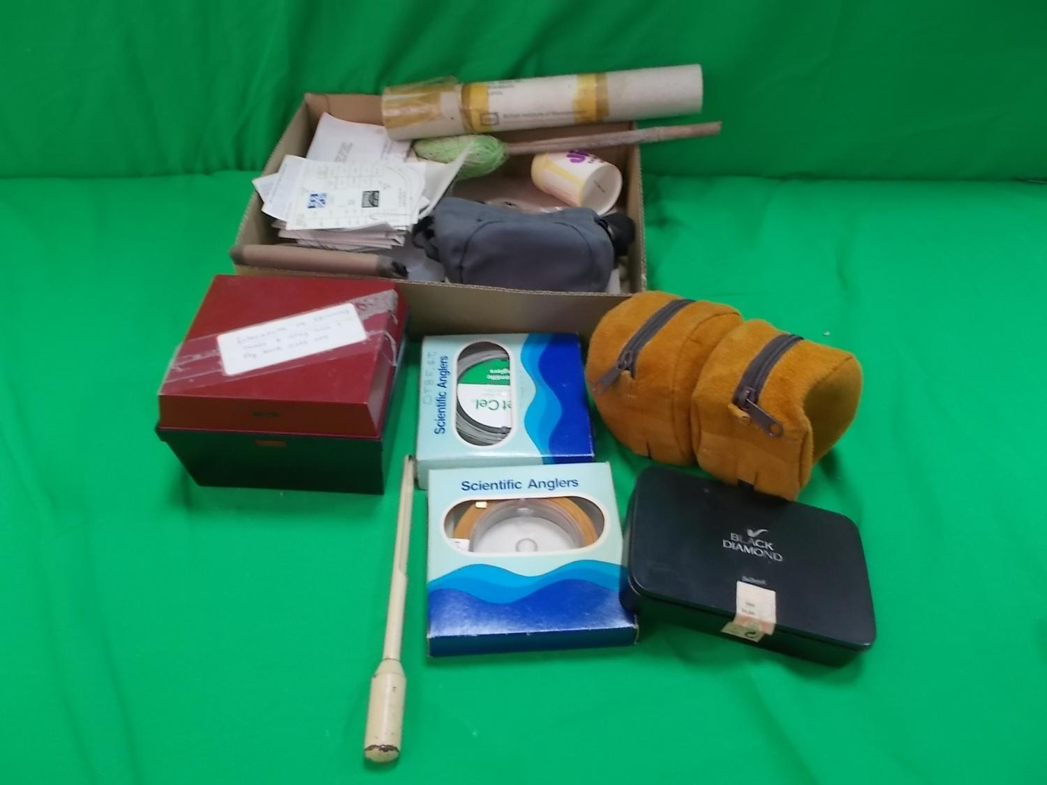 Mixed lot of fishing related items to include boxed line, tins, reel cases etc.  image