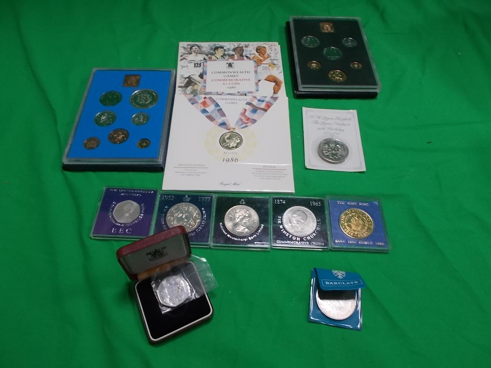 Selection of commemorative coins to include Winston Churchill, the Mary Rose, commonwealth games etc.  image