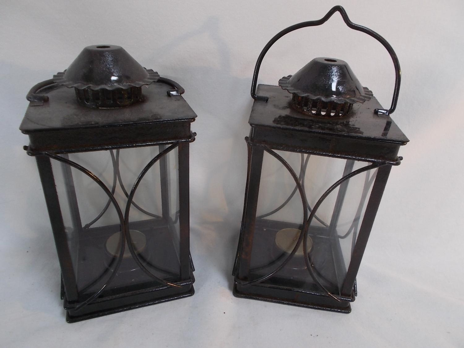 A pair of Black Lantern Candle Holders  image
