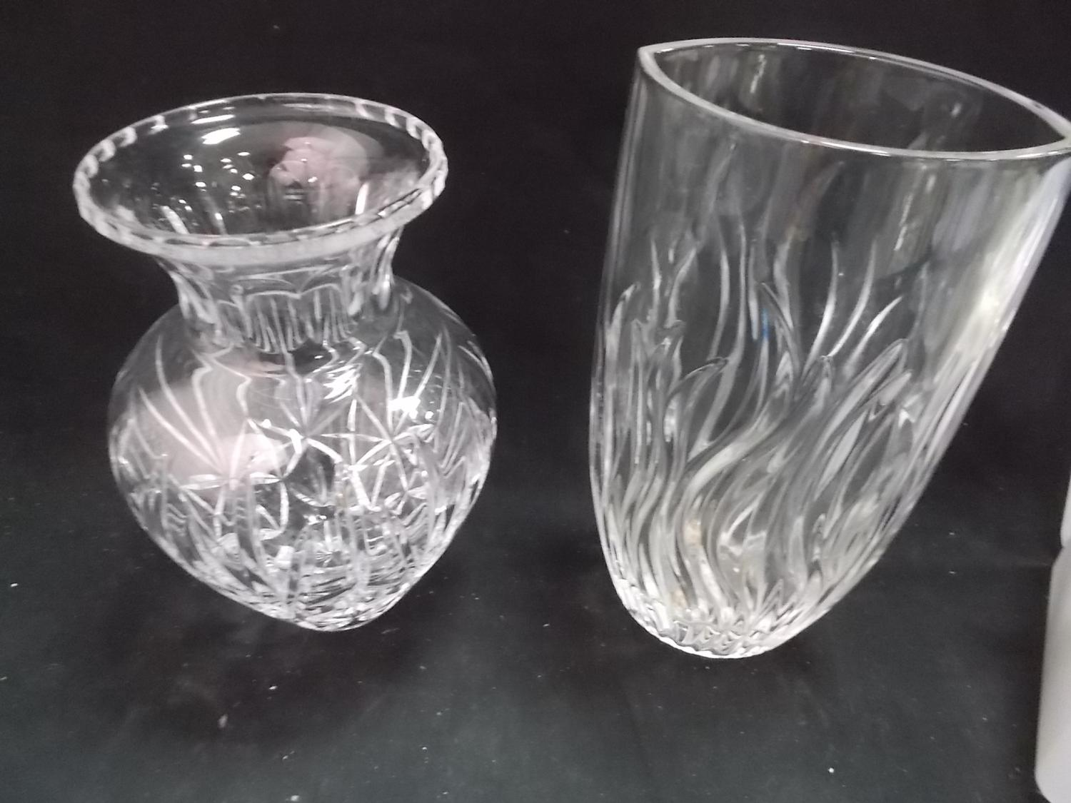 2 x heavy crystal/cut glass vases.  image
