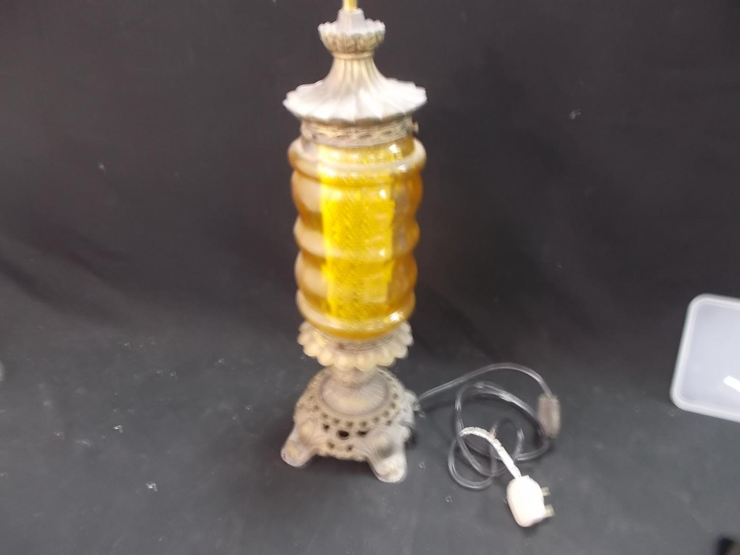 Beautiful vintage 1950's  FalkenStein gilt metal table lamp, faceted amber glass.  image