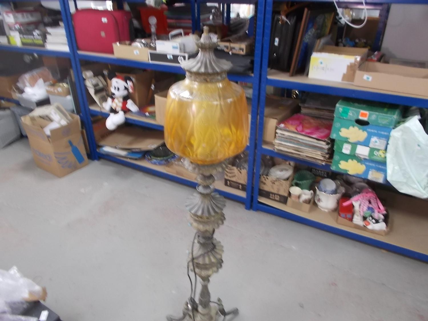 Beautiful vintage 1950's  FalkenStein gilt metal floor lamp, faceted amber glass.  image