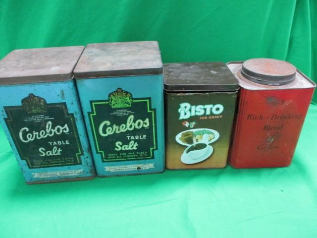 4 x Vintage advertising tins, Cerebos,Suncawt coffee and Bisto  image