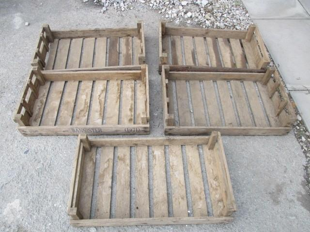 5 x vintage wooden fruit crates  image