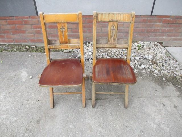 2 x Vintage wooden folding chapel chairs  image