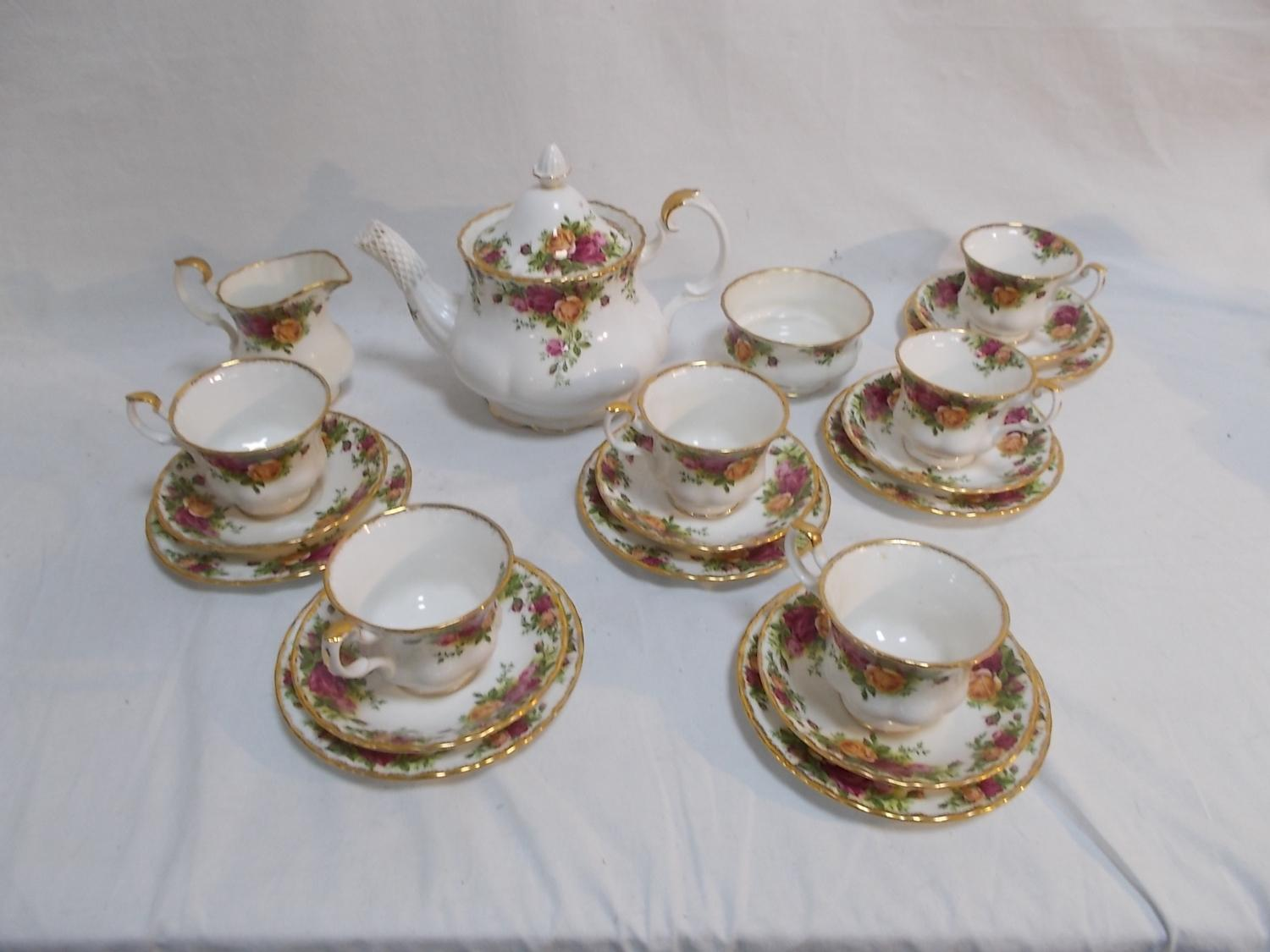 Royal Albert old country rose, tea set to include cups/saucers teapot, sugar bowl & creamer.  image