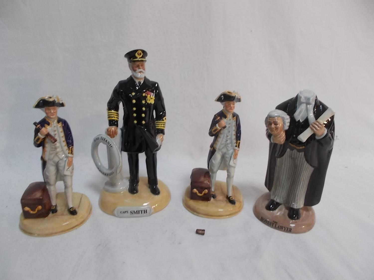 Selection of Limited edition collectors china figures to include Capt James cook, Captain Smith etc.  image