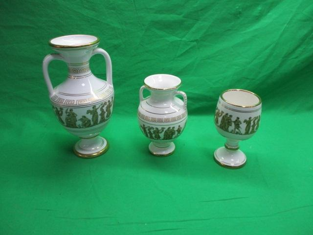 Trio of 24 karat Spathas hand made double handed vases & goblet, made in Greece.  image