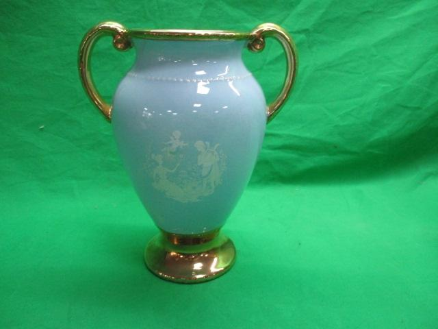 Oldcourt ware hand painted sky blue & gold detailed double handed vase.  image