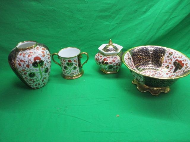 Selection of Imari style J. Cowking gold detailed pottery to include large bowl, vase etc.  image