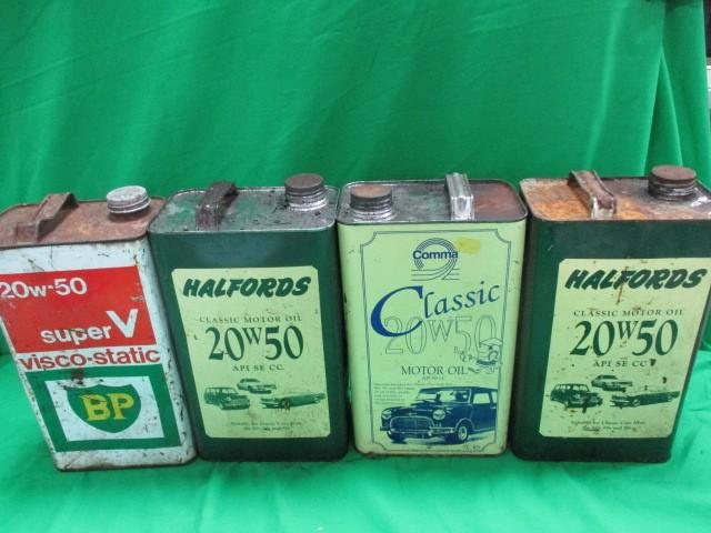 4x 20w50 Oil cans, Comma,Halfords and BP  image