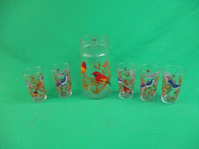 Vintage retro  glass jug with 5 glasses bird related  image